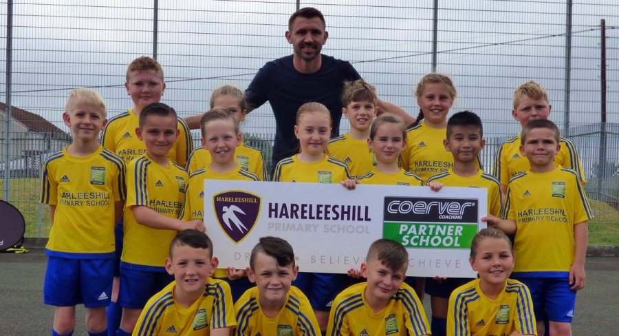 Euro 2016 scorer and Premiership footballer Gareth McAuley launches the first ever Coerver® Partner School at Hareleeshill Primary School in South Lanarkshire