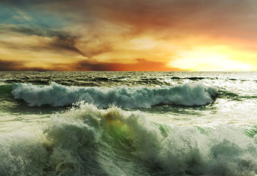 Raging sea and burning sky